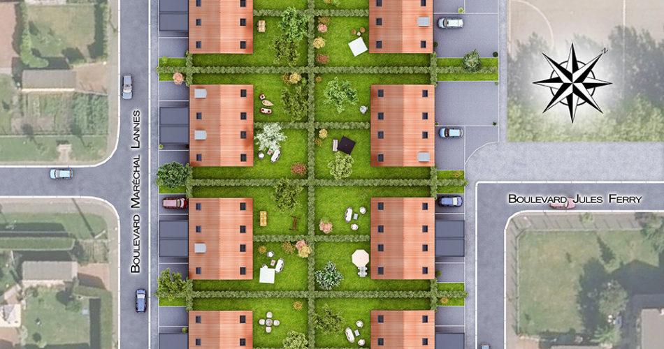 Plan masse La Cour des Grands à Ostricourt