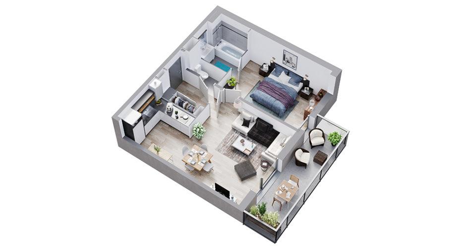 Appartement neuf t2 - résidence les satines à houplines