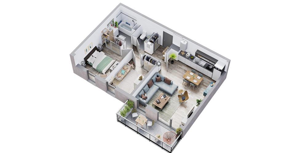 Appartement neuf t3 résidence les satines à houplines